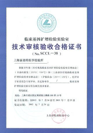技术审核验收合格证书